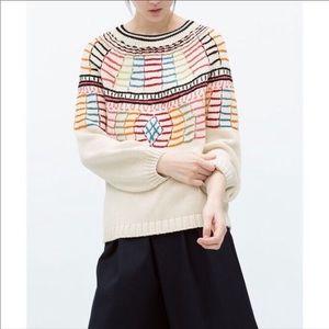 Zara Trafaluc Mulicolor Knit Sweater Size Med